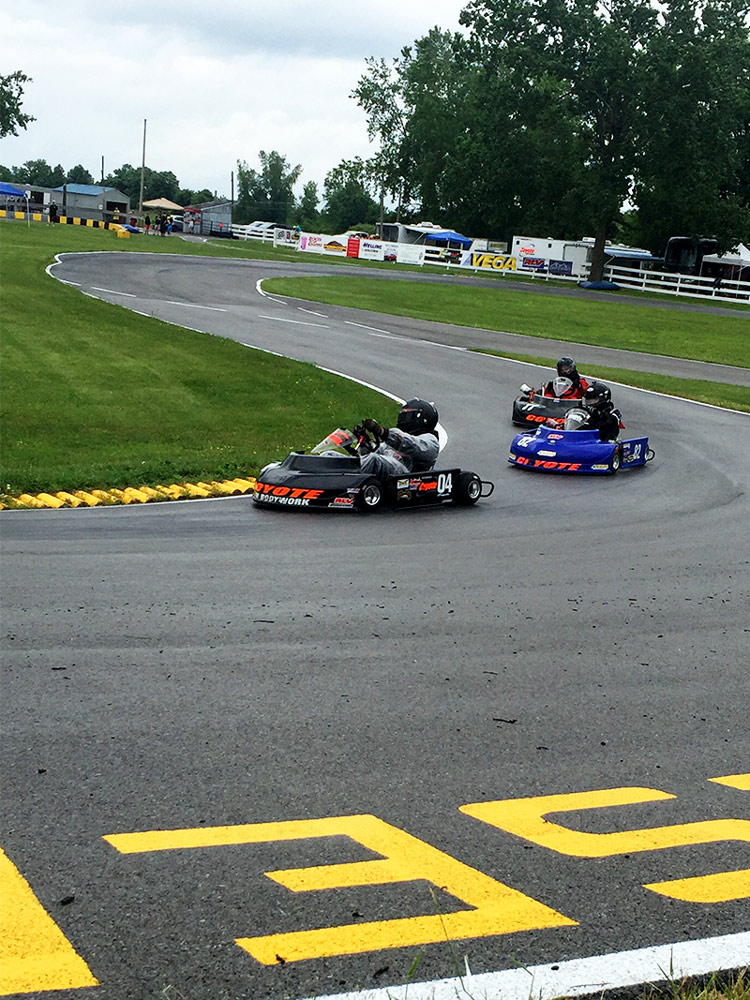Zobkiw on his way to a Pro Gas Animal win at Genesee Valley Kart Club