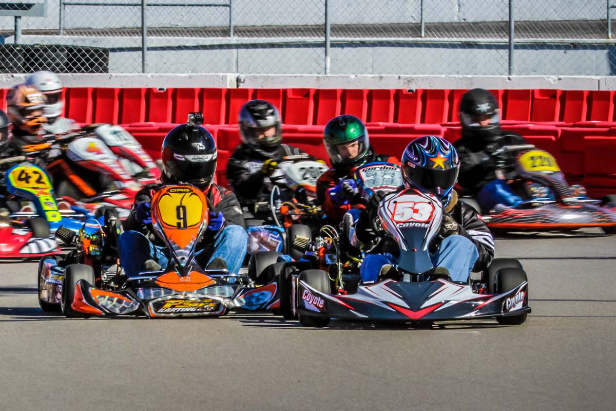 Cassity leads a field of Briggs LO206 competitors at Gateway Motorsports Park, IL, in 2015