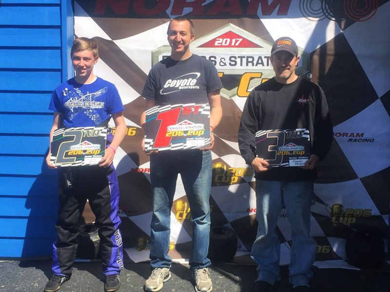 Scott Kleman (center) - 206 Sr Medium winner both days, along with P3 finisher Ryan Cassity (right) (206 Cup Series photo)