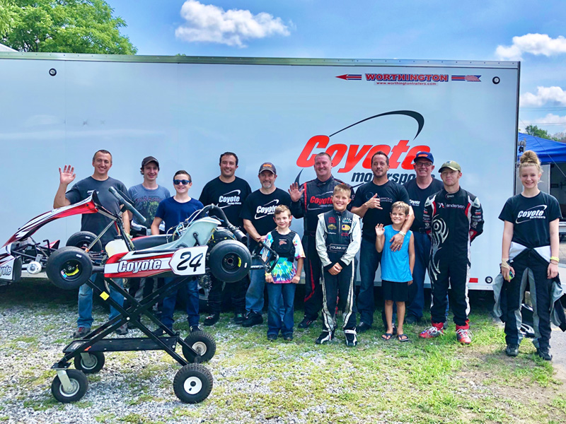 The Coyote family at MRP left to right: Scott Kleman, Joey Cline, Blake Boon, Jim Lipari, Ryan Cassity, Jay Boon, John Seglem, Kolin Kiefer, Chris Carroll, Greyson Carroll, Mark Lipari, Hunter Fox, Jordan Cline<br> (Olivia Carroll photo)