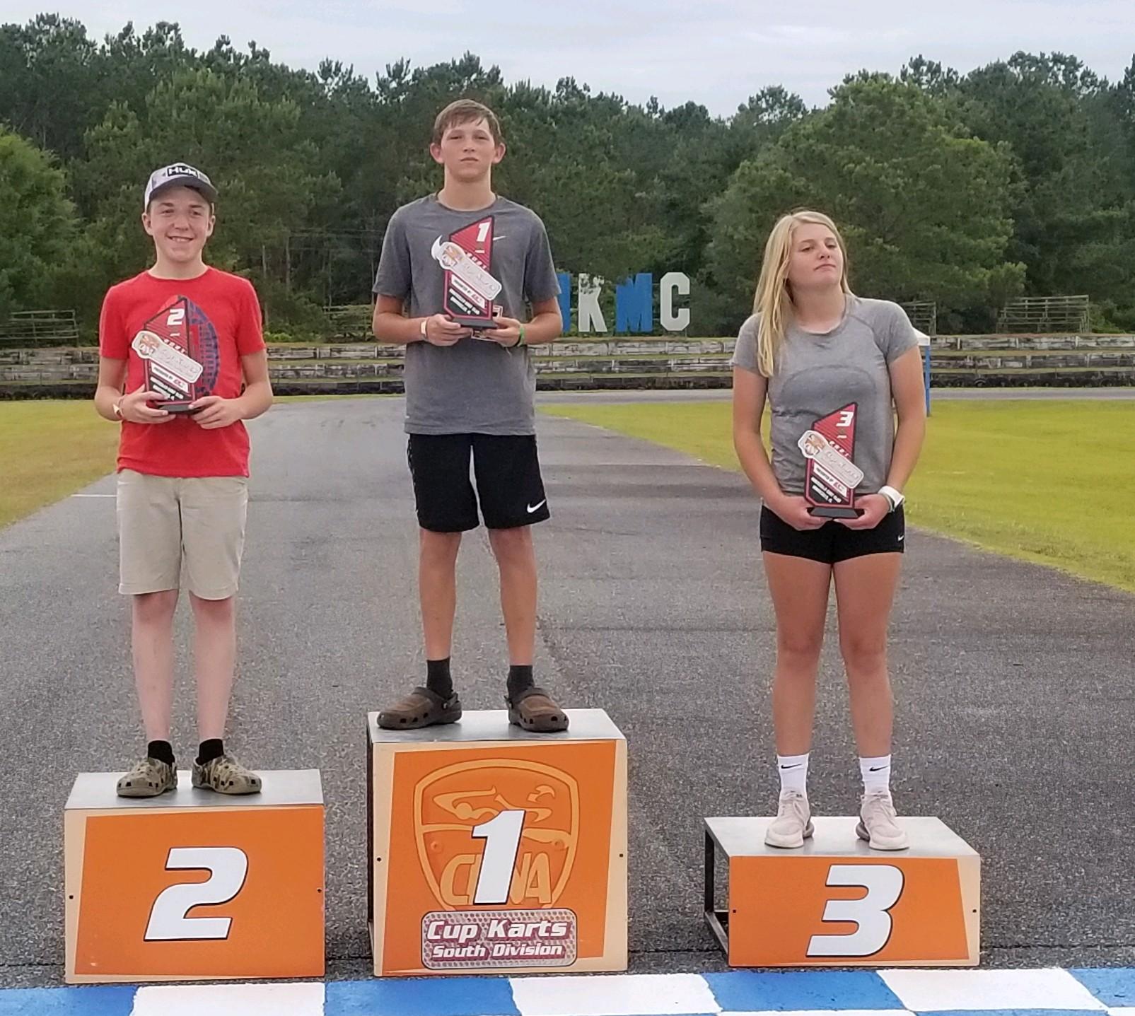 Junior winner Owen Lloyd at Monticello Cup Karts South