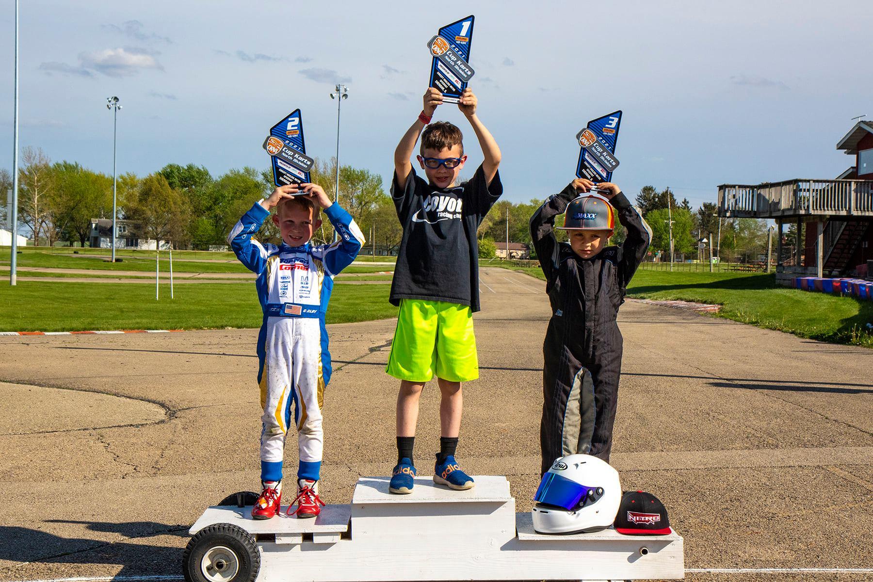 Jay Boon atop the Kid Kart podium at Concept Haulers (Rocket Media photo)